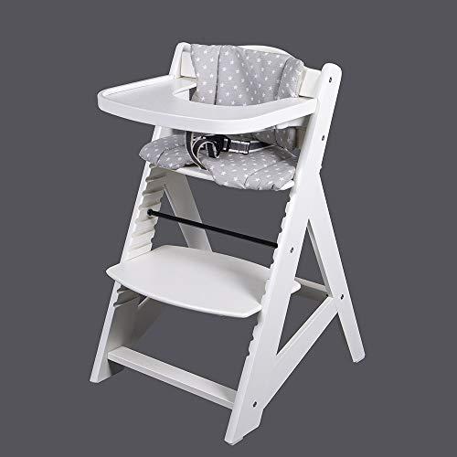 TIGGO Treppenhochstuhl Babyhochstuhl Kinderhochstuhl Kindertreppenhochstuhl Babystuhl Hochstuhl HC65510-02 Weiss/Grau