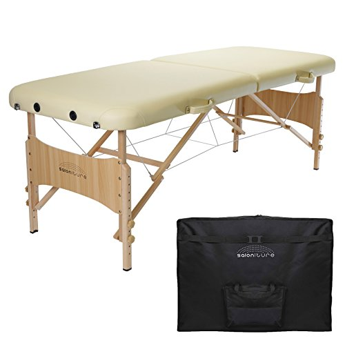 Saloniture Basic Portable Folding Massage Table - Cream