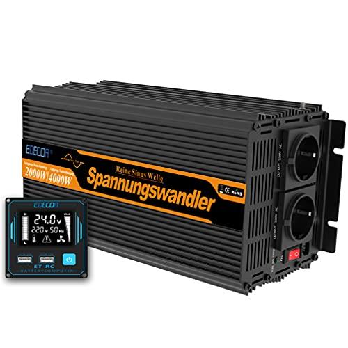 EDECOA Conversor 2000w Inversor 24v 220v 230v 2x USB nuevo mando a distancia Transformador convertidor para camion instalacion solar Power Inverter