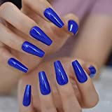 EDA LUXURY BEAUTY BLUE DARK LUXE DESIGN Full Cover Press On Nails Acrylic Nail Kit Artificial Nail Tips False Nails Extra Long Ballerina Coffin Square Nail Art Super Fashion Fake Nails