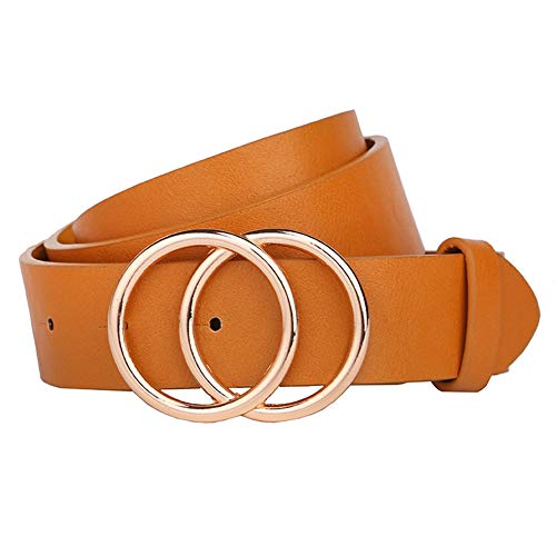 Earnda Women's Leather Belt Fashion Soft Faux Leather Waist Belts For Jeans Dress Yellow Small
