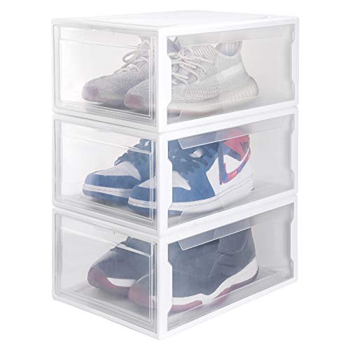Homde Reinforced Shoe Boxes Pack of 3 Stackable Shoe Storage Rack White Frame with Clear Drawer (Large)