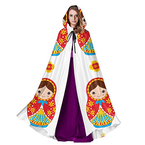 QuqUshop Süße Matroschka russische Puppe Kapuze Mantel Erwachsenen Mantel Cape 59 Zoll für Weihnachten Halloween Cosplay Kostüme