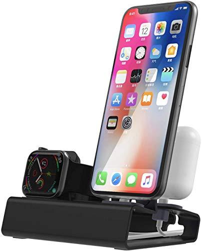 Estación de carga para Apple Watch Series SE 6 5 4 3 2 1 iPhone Airpods en Aluminio iWatch Soporte Docking Station 44 mm 40 42 38 modo NightStand Mode – No Cargador
