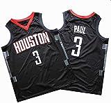 JYV Basketball manches Jersey Hommes Veste Houston Rockets, Chris Pau 3#, manches courtes unisexe, Cool T-shirt confortable Respirant (Couleur : Black, Size : M)