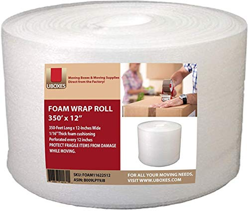 UBOXES Foam Wrap Roll 320' x 12' Wide 1/16 Thick Cushion - 12' Perforation