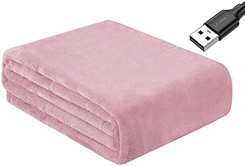 REWD Safe USB Heated Electric Blanket Throw Foldable Portable Constant Warm Body Blanket Shawl for Office Home Airplane Car Camping