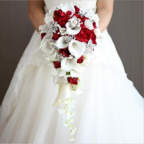 Xintian Fiori Artificiali Fiori Cascata Red Sposa Mazzi Artificiale Perle di Cristallo Wedding Bouquet Bouquet Rose falsificazione Fiore (Color : Red)