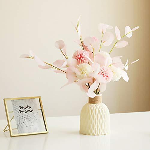 King Style Nordic Vase, Kunststoff Vasen für Blumen, Moderne Geometrische Blumenvasen für Wohnzimmer/Büro/Heimdekoration/Hochzeitsdekoration (Creme-Weiß)