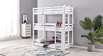 Bunk bed Triple Sleeper Bunk bed in white, 3 Tier Safa, 3ft bunk bed, 3 single bed wooden frame