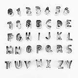 icyant Juego de cortadores de glaseado para fondant con letras y números del alfabeto, tamaño pequeño, molde para decoración de pasteles, cortadores de galletas de acero inoxidable