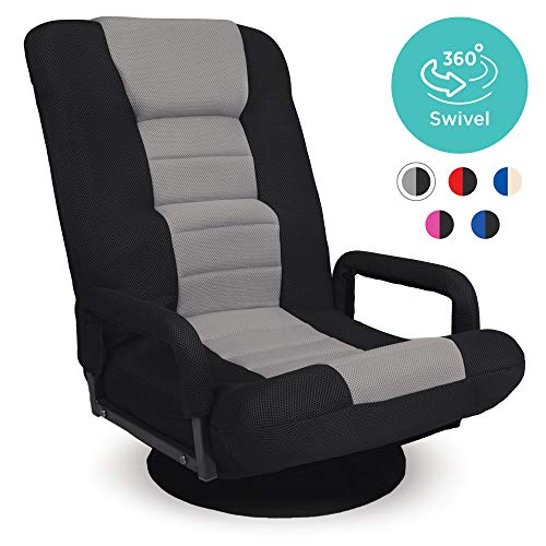 Best Choice Products 360-Degree Swivel Gaming Floor Chair w/Armrest Handles, Foldable Adjustable...