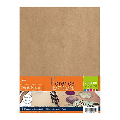 Vaessen creative hojas de aglomerado para manualidades florence 2mm, conjunto de 3 hojas rectangulares, tamaño a4, para scrapbook, cubiertas de diarios, álbumes de fotos, decoraciones de boda y más