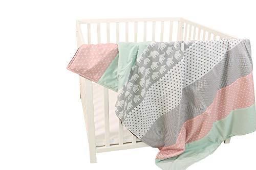ULLENBOOM ® Babydecke 100x140 cm Elefant Mint Rosa (Made in EU) - Baby Kuscheldecke aus ÖkoTex Baumwolle & Fleece, ideal als Kinderwagendecke oder Spieldecke geeignet, Design: Sterne, Patchwork
