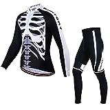 PGone Mens Invierno Ciclismo Set - Chaqueta Esqueleto Blanco de Manga Larga Trajes térmicos a Prueba de Viento Conjunto de Ciclismo (Size : XXX-Large)