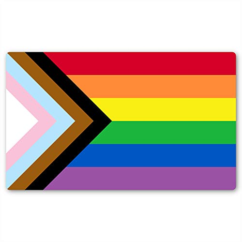 Progress Pride Rainbow Flag Sticker   Show Your Love for The LGBT Family with This Vinyl Decal on Your Laptop, Car Bumper, or Hydro-Flask (3 X 5 Inch)