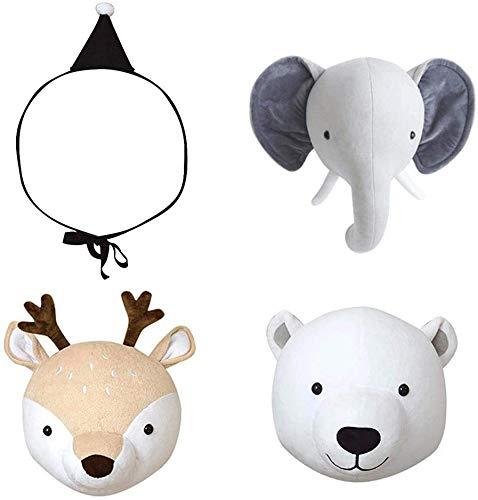 YDKJ Colgando de Peluche Corto Animal Pared De Conejo Y Patrón Cabeza de Elefante Acolchado Animal muñeca para los Cabritos Sitio,Deer + Bear + Elephant + Hat