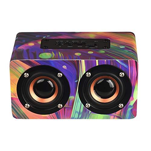 LRWEY Wireless Bluetooth-Lautspreche, 10W Ausgang Retro Holz Drahtloser Bluetooth-Lautsprecher Mini 3D Dual-Lautsprecher USB, MP3-Player Portabler Wireless-Lautsprecher