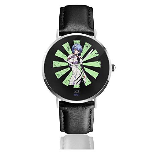 Unisex Business Casual Rei Neon Genesis Evangelion Retro Japanische Uhren Quarzuhr Lederarmband schwarz Lederband für Männer Frauen Junge Kollektion Geschenk