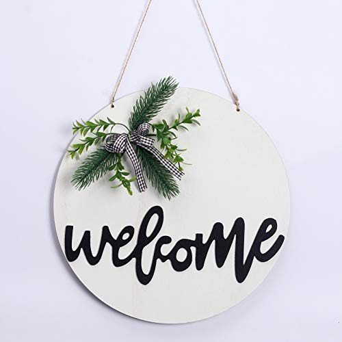 RoseCraft Welcome Sign, 12Inch Wreath for Front door/wall/porch/window/farmhouse/Home Decor, Suitable for Outdoor/Indoor, Holiday, Xmas, and All Season.(white )