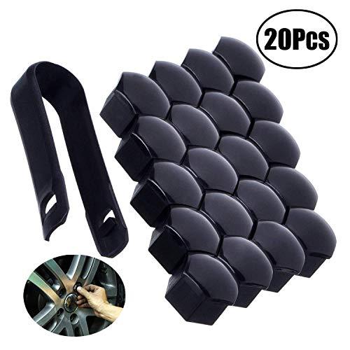 JZZJ 20 Pezzi Tappo a Vite Ruota Universale Copridadi per Pneumatici con Strumento di Rimozione Set per Automobili, Nero (17 mm)