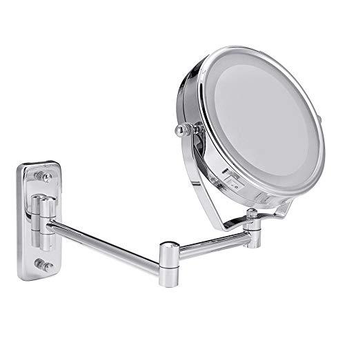 Scheermake-upspiegel voor badkamer, met leds, aan de muur bevestigde, draaibare zijdelingse make-upspiegel met leds, aan de muur bevestigd.