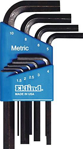EKLIND 10509 Hex-L Key allen wrench - 9pc set Metric MM sizes 1.5-10 Short series