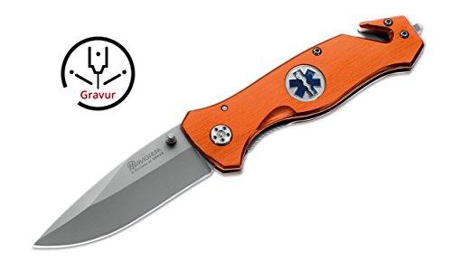 Rettungsmesser Magnum Rescue Rettungsdienst INKLUSIVE GRAVUR mit Glasbrecher und Gurtmesser