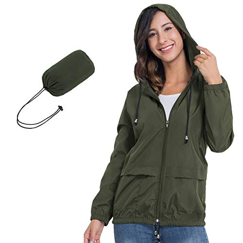 JTANIB Womens Raincoat Windbreaker Waterproof Lightweight Packable Hooded Rain Jacket Army Green X-Large