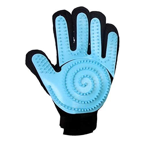 YUNGYE Handschuh for Katzen Katzenpflege Haustier Hundehaar Deshedding Pinsel Kamm Handschuh for Haustier Hund Fingerreinigung Massagehandschuh for Tier (Color : Blue, Size : Right)