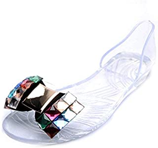 Women's Girls Clear Bow Jelly Sandals Shoes Fashion Summer Beach Transparent Flat Water Sandals