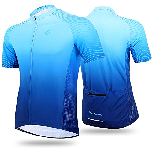 Cycling Jersey Mens, Cycling Tops for Men, Mountain Bike Shorts for Men, Short Sleeve Cycling Top with 3 Rear Pockets, Quick Dry Breathable Running Bicycle Jessy, Birthday Gifts/Presents for Cyclists