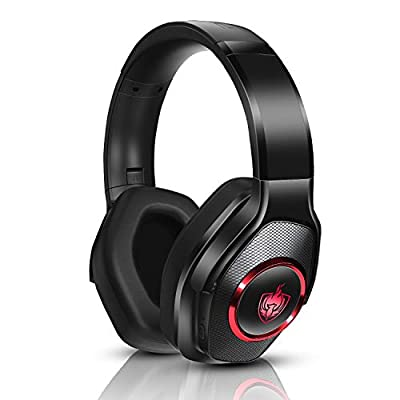 PS4 Headset, Low Latency Wired Gaming Headset for Xbox One, PC, Foldable Bluetooth Wireless Headset with 7.1 Bass Surround, Noise Cancelling Mic, Rotatable Ear Cups, Automatic RGB Light - Red from PHOINIKAS