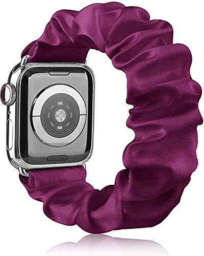 Scrunchie - Correa compatible con Apple Watch de 38 mm, 40 mm, 42 mm, 44 mm, seda suave impresa, pulsera de tela, para mujer con correas elásticas para iWatch SE Series 6 5 4 3 2 1 (38/40 mm M/L)