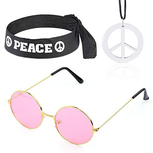 Beelittle Hippie-Kostüm Set - 60er Jahre Kreis Brille Friedenszeichen Halskette Hippie Stirnband 60er Jahre Party-Zubehör-Kit (B)
