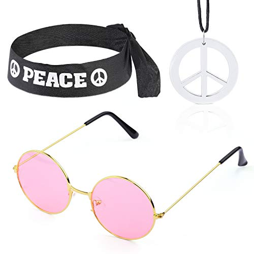 Beelittle Hippie Costume Set - 60's Style Circle Glasses Peace Sign Necklace Hippie Headband 60s Party Accessory Kit (B)