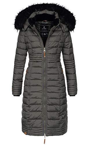 Navahoo Damen Wintermantel Mantel Steppmantel Winter Jacke lang Stepp warm Teddyfell B670 [B670-Uma-Anthrazit-Gr.L]