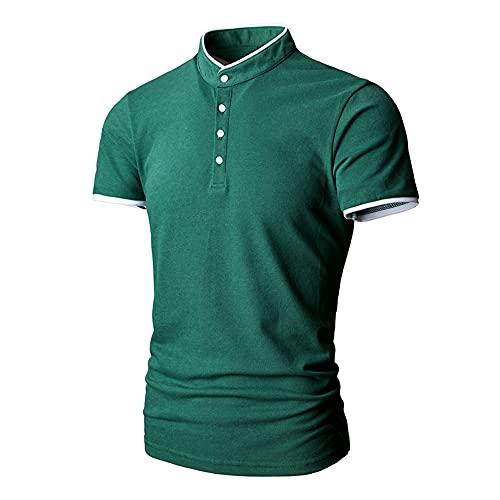 Camiseta Hombres Ajuste Regular Manga Corta Cuello Alto Camiseta Henley Hombres Senderismo Montañismo Golf Camisa Deportiva Hombres Casuales Verano Tops Hombres