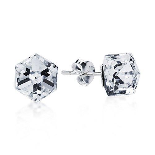 Clear Crystal Prism Cube .925 Sterling Silver Stud Earrings
