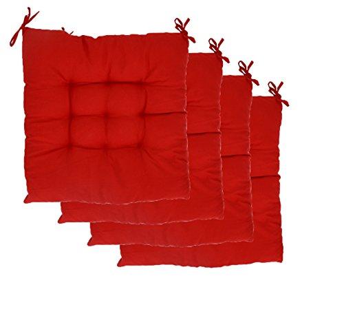 Ouvin solide carré tufté Chaise Coussinets Lot de 4 Intérieur/extérieur Coussins sièges avec liens, Red-4pcs, Taille L