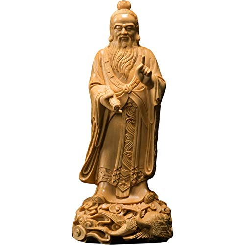 LUYIYI Boxwood 18cm Laozi Skulptur Taoism Saint Wood Statue Feng Shui Lao Tzu Historische Figur Wohnkultur