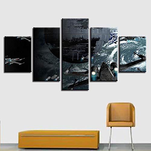 YLG 5 Stück HD Drucke Leinwand Wanddekoration Todesstern Poster Gemälde Modulares Bild Star Modern Wars Bilder Wandkunst Rahmen,A,30X50X2 30X70X2 30X80X1