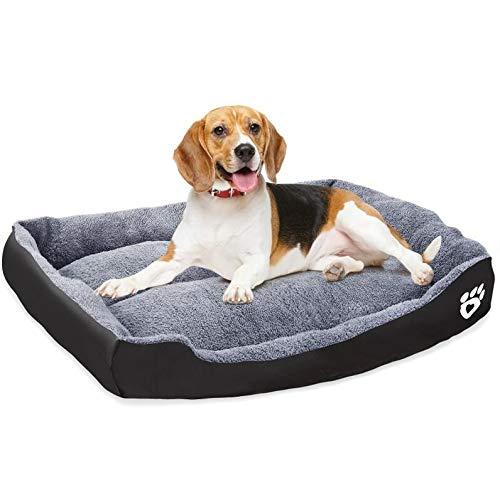 VICSPORT Cama para Perros Cálida Suave Lavable a Máquina Tejido de Felpa Cómoda Cama para Gatos Perros Sofá Colchón para Perro - XL