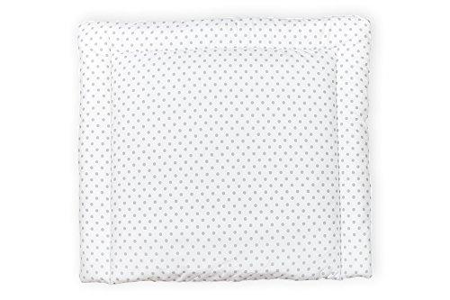 KraftKids Wickelauflage in graue Punkte auf Weiss, Wickelunterlage 75x70 cm (BxT), Wickelkissen