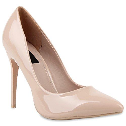 Spitze Damen Pumps Lack Stiletto High Heels Metallic Party Glitzer Abiball Hochzeit Schuhe 114338 Creme 39 Flandell