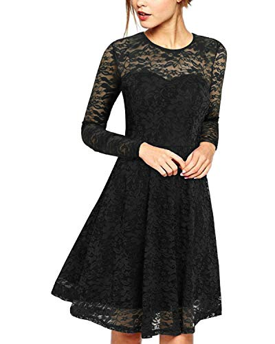 ZANZEA Damen Spitze Lace Party Cocktail Bodycon Club Lang Abend Minikleider Langarm Schwarz EU 36/US 4