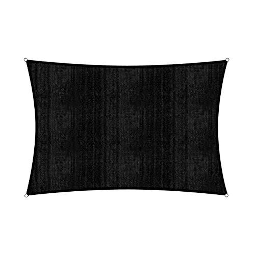 Lumaland Voile d'ombrage Cordes de Fixation incluses, 100% HDPE avec Le Filtre UV de Protection 2x3 Noir