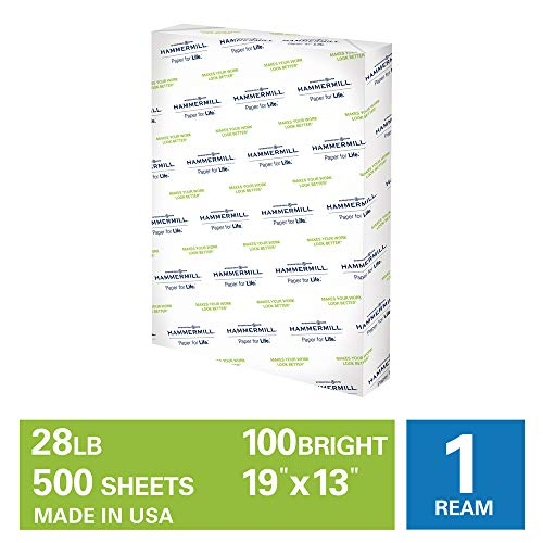 Hammermill Premium Color Copy 28lb Copy Paper, 19 x 13, 1 Ream, 500 Sheets, Made in USA, Sustainably Sourced From American Family Tree Farms, 100 Bright, Acid Free, Color Copy Printer Paper, 106126R,White