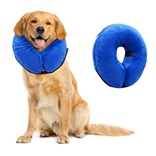 Aufblasbar Halsband für Haustier Hund Katze Schutzkragen für Haustiere Einstellbar Bequem Schutzkragen mit Klettverschlus und Magic Reißverschluss bequem weich Recovery Halsband Schutz