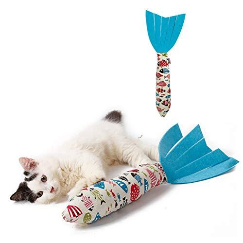 HEREB Juguetes interactivos para Gatos, Juguete de Felpa para Gato, Forma de pez, Juguete para Masticar con Gato, Juguete de Gato, Cepillo de Dientes de algodón para Gatos